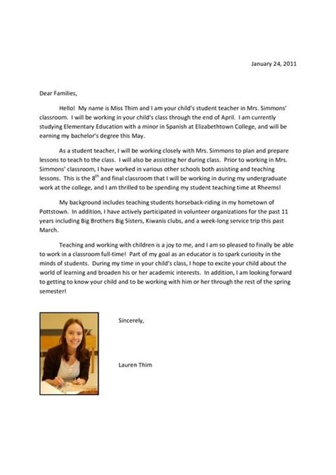 Introduction Letter Student To Exle Of Intro Letter To Parents From Student Future Classroom