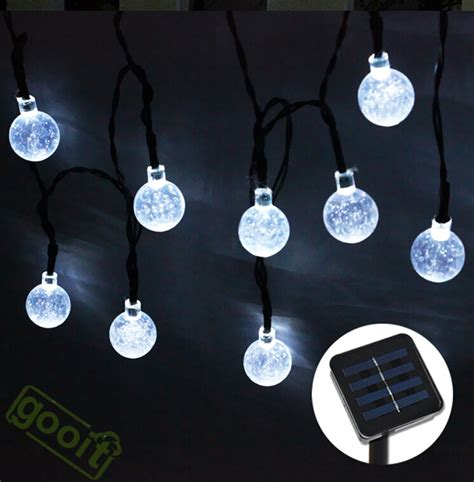 solar powered patio string lights 20leds 4 8m snow led solar powered