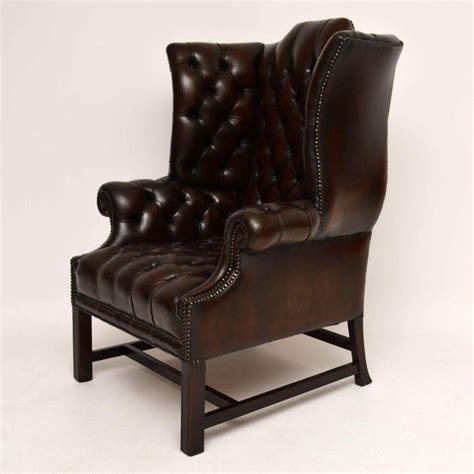 antique leather armchairs for sale antique deep buttoned leather wing back armchair for sale