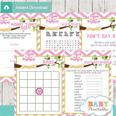 printable owl themed baby shower games pink owl baby shower games bundle d123