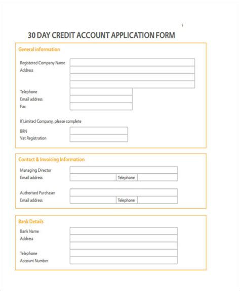 30 Day Credit Application Template 15 Credit Application Form Templates