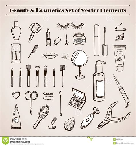 doodle free maker and cosmetics vector doodles icons stock vector