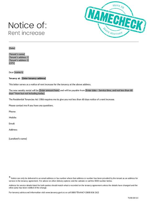 notice of rent increase 2018 rent increase letter fillable printable pdf