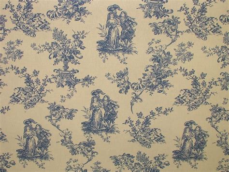 toile upholstery fabric blue natural cream linen look toile de jouy curtain