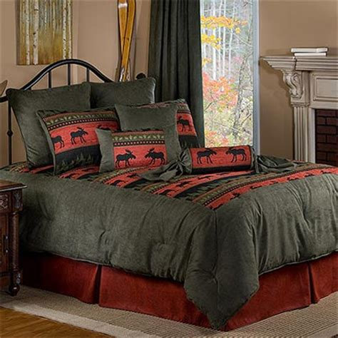 moose bedding evergreen suede moose bedding collection rustic lodge