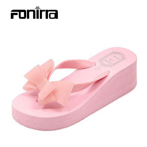 Sandal Wedges Jepit Spon 5 2016 summer bownot shoes sandals sapato feminino wedge flip flops slipper