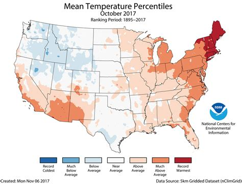 us average temperature map december assessing the u s climate in october 2017 national