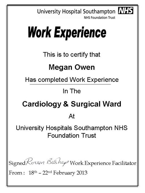 Work Experience Certificate In Cardiology From Malawi To School