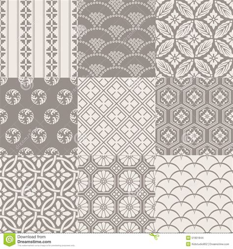 vintage japanese pattern seamless vintage japanese pattern set stock vector image