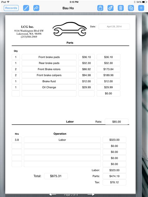 auto mechanic receipt template auto repair service uses for creating an invoice