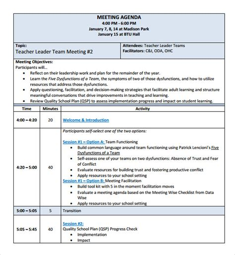 templates for minutes of meetings and agendas sle school agenda 8 documents in pdf word