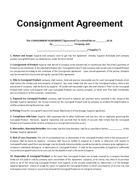 free consignment agreement template templates at