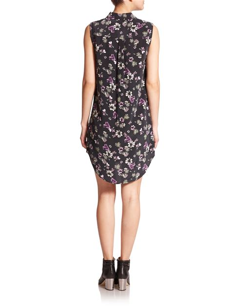 Muddy Floral Print Dresses by Lyst Equipment Signature Silk Floral Print Dress In Black