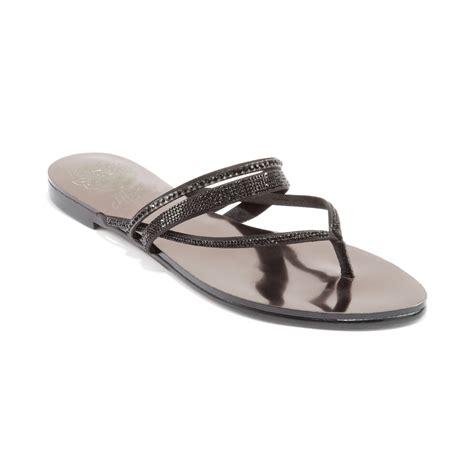 black one sandals lyst vince camuto evora jewled flat sandals in black