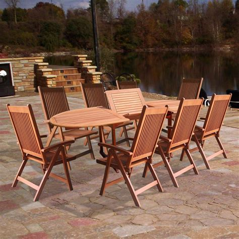 wood patio table set vifah v144set2 wood 9 patio dining set with oval