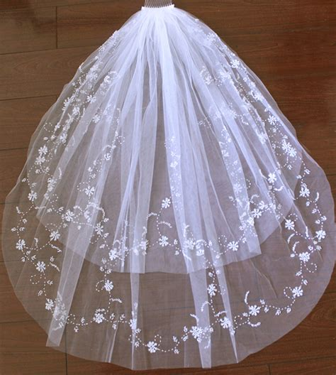 beaded veil aliexpress buy white ivory wedding accessories veil