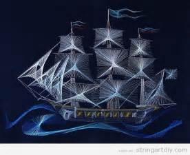 String Ship - sailing ship string string diy free patterns