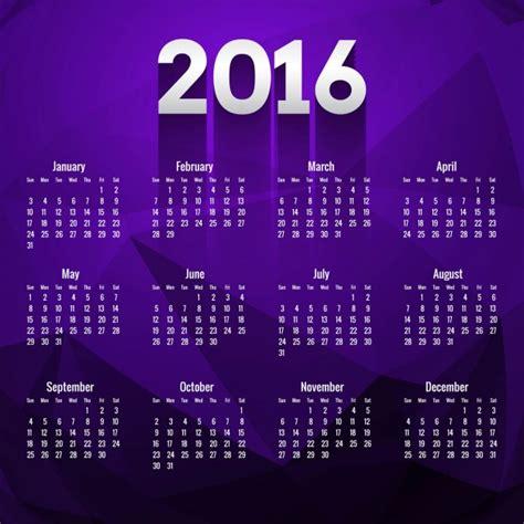 Calendario Colo Polygonal 2016 Calendar In Purple Color Vector Free