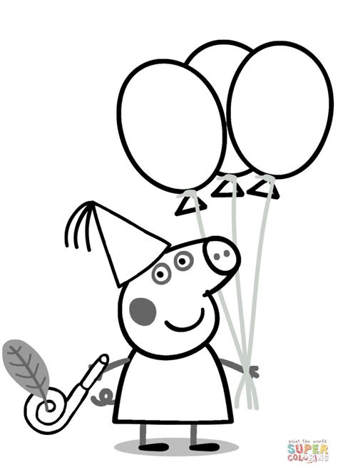 peppa pig princess coloring pages peppa pig with ballons coloring page free printable