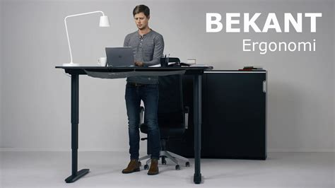 Standing Desk Ikea The New Ikea Bekant Sit Stand Desk Can Be Adjusted With The Push Of A Button