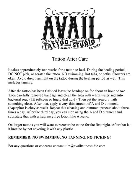 tattoo aftercare aftercare avail studio