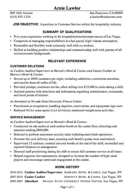 Resume Sample Customer Service Hospitality