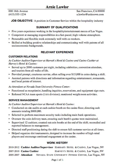 Resume Template For Hospitality Industry Resume Sle Customer Service Hospitality