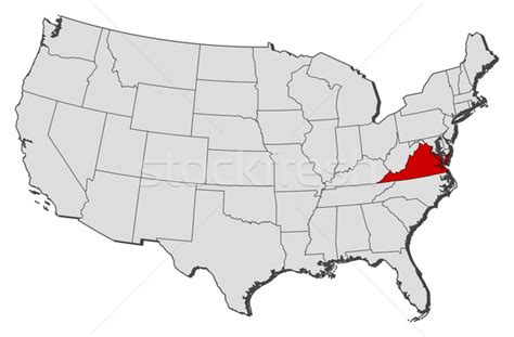 usa stae map map of the united states virginia highlighted vector