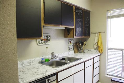 previous kitchen makeover with contact paper before and why renovate when these easy home updates are possible