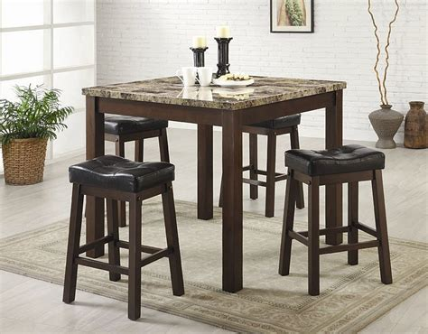 bar top table sets sofie 5 piece marble look counter height dining set