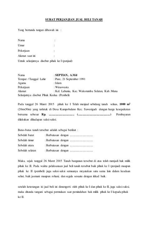 contoh format surat kuasa jual beli tanah surat perjanjian jual beli tanah 23