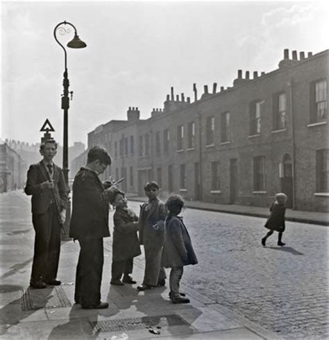 children standing on a london street; c. 1960 by henry