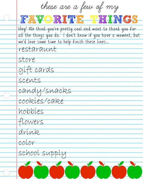 favorite things list template 7 best images of printable teachers my favorite things
