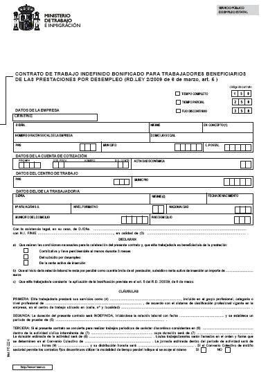 contrato general de empleo descargue plantillas de modelos contrato laboral indefinido bonificado para