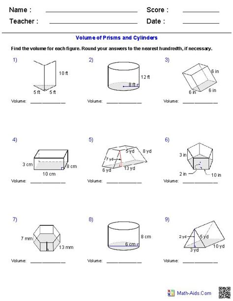 printable math worksheets volume of pyramid volume of pyramid worksheet worksheets