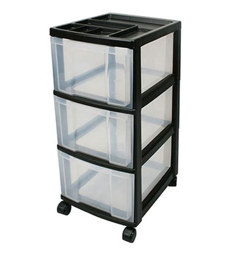 Black Plastic Drawers Three Drawer Storage Cart Black In Storage Drawers