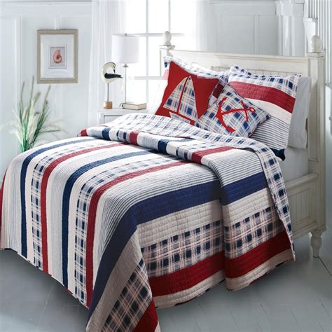 nautical coverlet oversized nautical stripes quilt set whyrll com