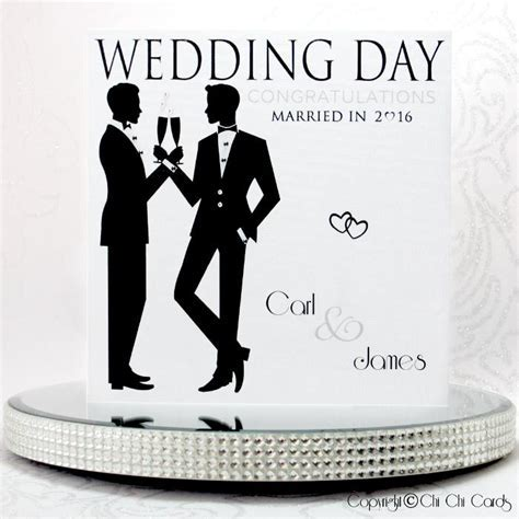 Luxurious Gay Wedding Card   Two Grooms   Cheers!