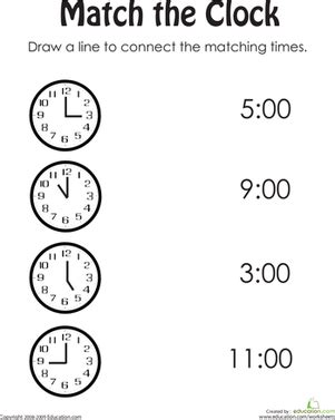 printable clock matching game match the clock worksheet education com