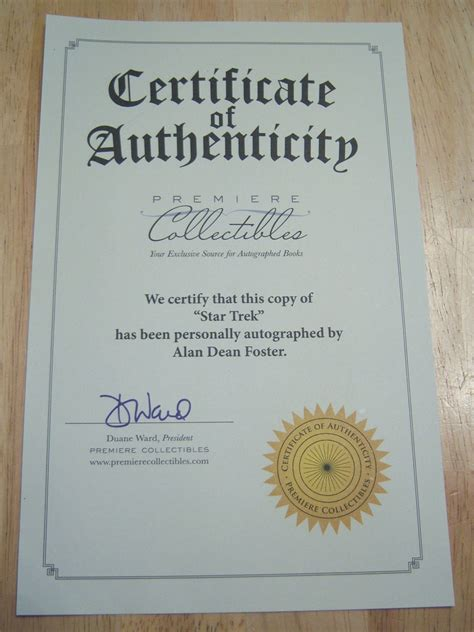 certificate of authenticity autograph template microsoft word template certificate of authenticity