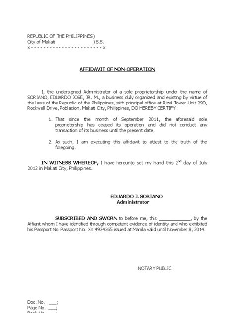 self certification notification letter ny affidavit of non operation