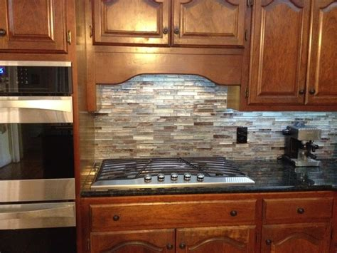 floreste verde granite glass mosaic backsplash