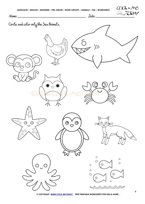 water animals worksheets kindergarten sea animals worksheet activity sheet circle 4