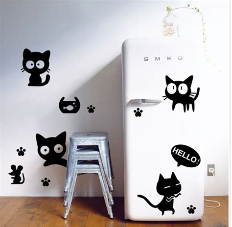 cat wallpaper home decor vinyl fridge wall stickers wallpaper animal cartoon black