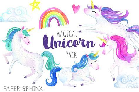 Unicorn Cloud magical unicorns watercolor pack illustrations