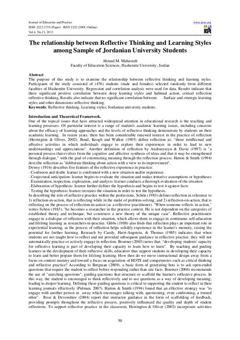 reflective writing sle essay the relationship between reflective thinking and learning