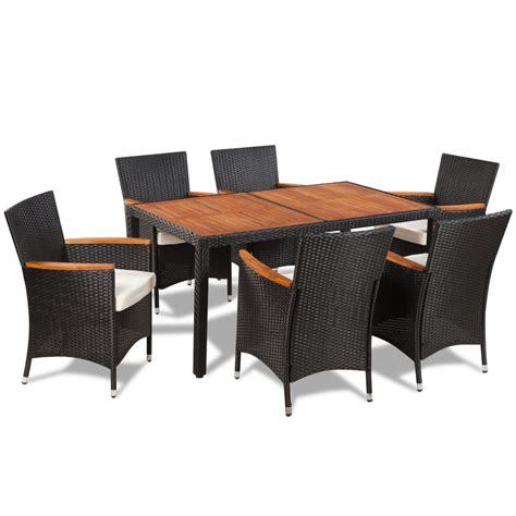 Rattan Dining Table And Chairs Vidaxl Poly Rattan Garden Dining Set 6 Chairs And A Table Wooden Top Vidaxl