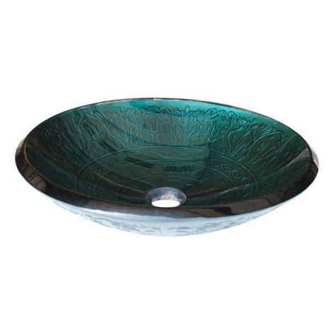 Shop eden bath teal glass vessel oval bathroom sink at lowes com