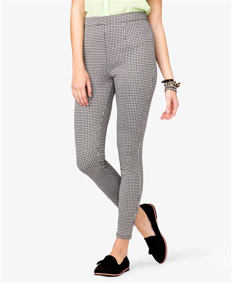 patterned cream tights lyst forever 21 retro houndstooth leggings in gray