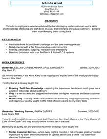 How To Write A Bartender Resume by Bartender Resume Sle Berathen